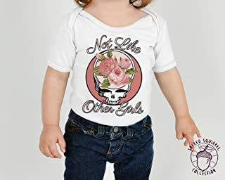 Grateful Dead 0-3 Months Not Like the Other Girls Steal Your Face Flowers Baby Bodysuit or Toddler Kids T-Shirt Dead Head Christmas Gift Little Girl Outfit