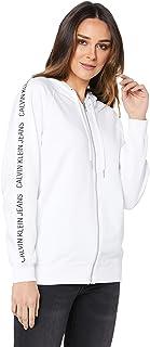 Calvin Klein Jeans Women's Institutional Raglan Zip Up Sweatshirt, Bright/White, M