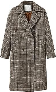 Succper Women's Winter Coats Double Breasted Long Plaid Wool Blend Pea Coat Outerwear Overcoat Lapel Woolen
