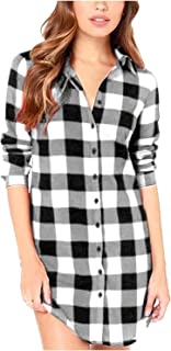 Women Blouses Tops Buffalo Check Plaid Long Sleeve Collar Neck Casual Button Down Shirts
