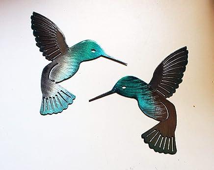 """Hummingbird Teal Pair Metal Wall Art Decor 6"""""""