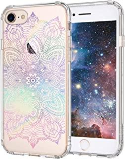 iPhone 8 Case, iPhone 7 Clear Case, MOSNOVO Gradient Rainbow Henna Mandala Printed Clear Design Transparent Plastic Case with TPU Bumper Protective Case Cover for Apple iPhone 7 / iPhone 8 (4.7 Inch)