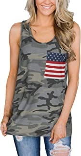IRISGOD Womens Camoflauge Racerback Tank Tops 4th of July Camo Tee Summer Patriotic Country Shirts with Pocket