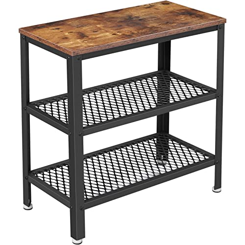 Vasagle Bryce Side Table End Table Decorative Table With 2 Mesh Shelves Hallway Living Room Bedroom Office Narrow Stable Space Saving Easy Assembly Industrial Design Rustic Brown Ulet33bx Kitchen Dining