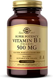 Solgar Vitamin B1 (Thiamin) 500 mg, 100 Tablets - Energy Metabolism, Healthy Nervous System, Overall Well-Being - Super Po...