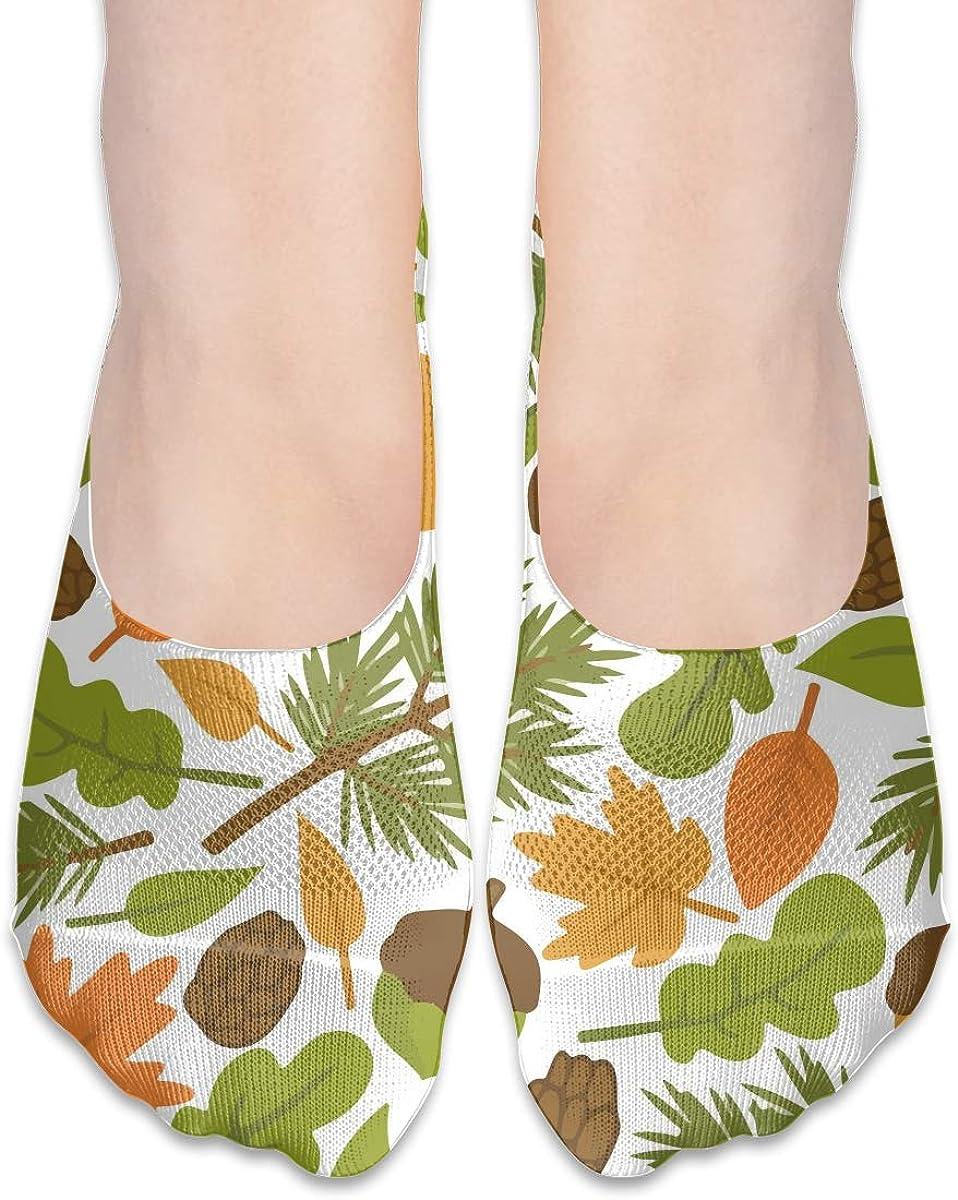 No Show Socks Women Men For Squirrel Pine Cone Nuts Flats Cotton Ultra Low Cut Liner Socks Non Slip