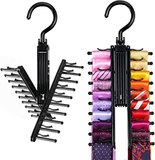 Sponsored Ad - IPOW Upgraded 2 PCS See Everything Cross X 20 Tie Rack Holder,Rotate to Open/Close Tie and Belt Hanger With...