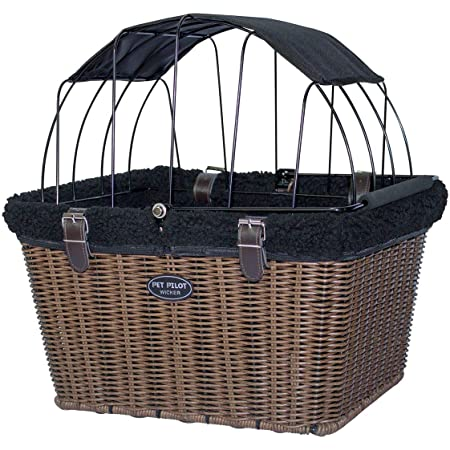Travelin K9 Pet-Pilot Wicker MAX – Dog Bicycle Basket Bike Carrier- Includes Wire Top with Sun Shade