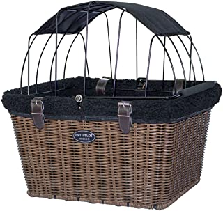 TRAVELIN K9 2019 Pet-Pilot Wicker MAX – Dog Bicycle Basket Bike Carrier- Includes Wire Top with Sun Shade