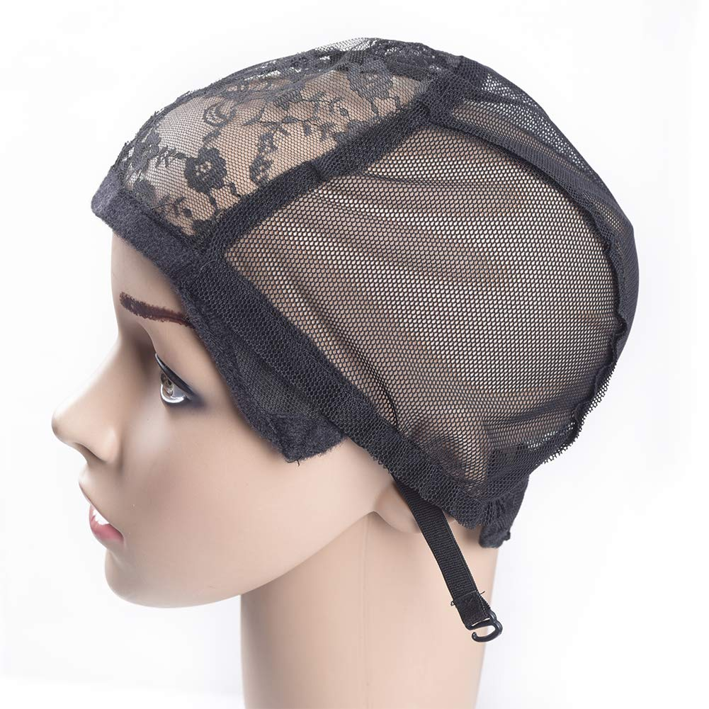 2 pcs Inventory cleanup selling sale Wig Caps with Adjustable Strap Fort Worth Mall for Wigs Black Making Lace