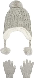 Girls Winter Hat and Glove Set - Sherpa Fur Lined Earflap Pom Pom Beanie