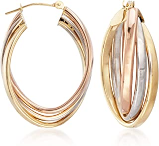 14kt Tri-Colored Gold Oval Hoop Earrings