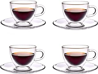 Double Wall Glasses for Espresso Coffee Turkish Coffee Cups with Saucer 80 ml Set of 4 pcs