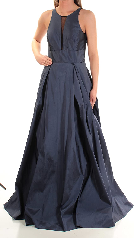 Aidan Mattox Womens Sleeveless Gown with Mesh Inset Dress