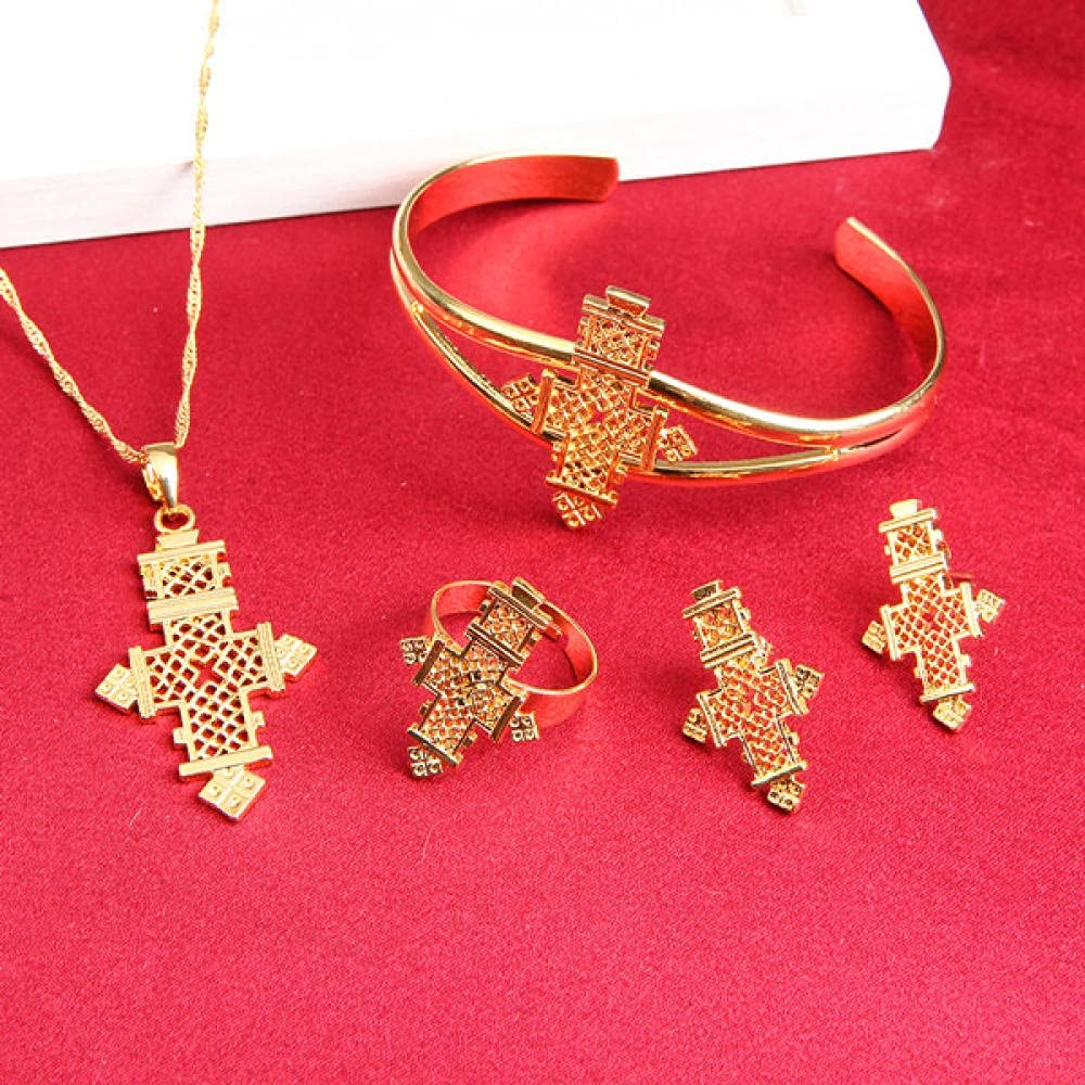 BESI Trendy Ethiopian Eritrea Habesha Jewelry Cross Sets for African Women Traditional Holiday Party