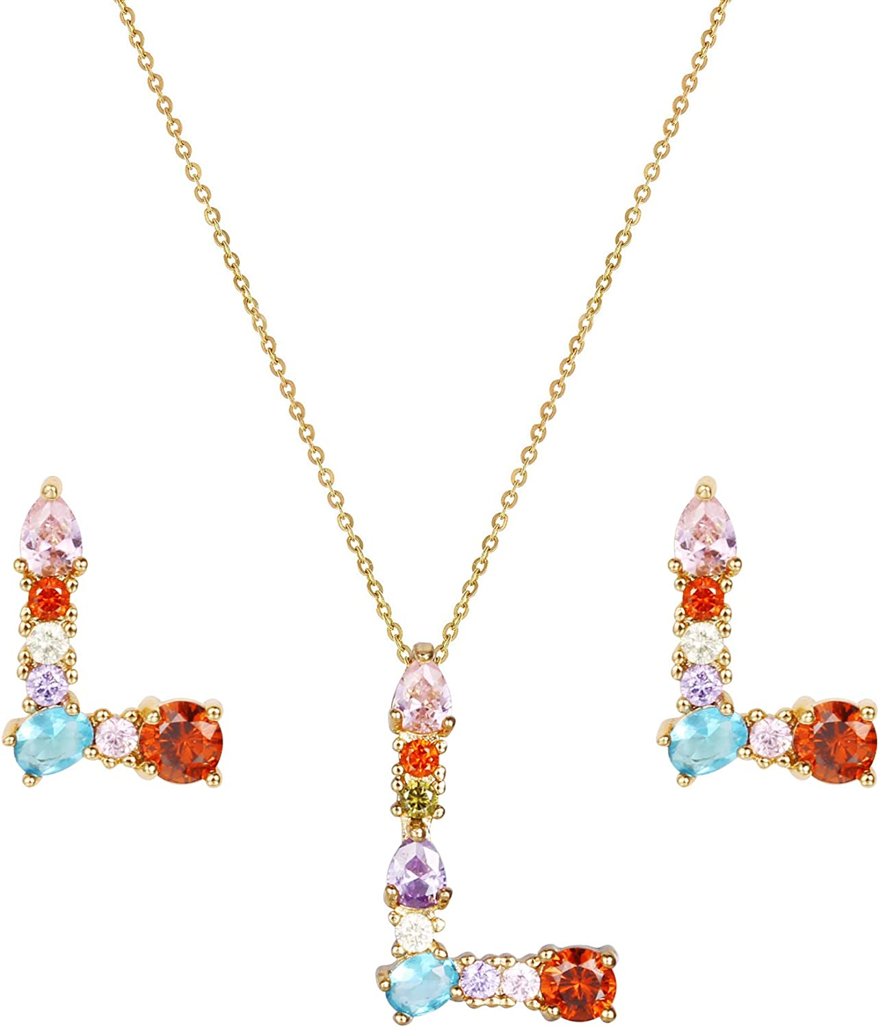 KISSPAT Initial Letter Pendant Necklace and Earrings Set for Women Girls |CZ Jewelry Gifts