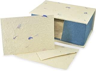 Nepali Cherish Greeting Card & Envelope Deluxe Box Set with Handmade Lokta Paper from Nepal, 25 Cards (Cornflower)