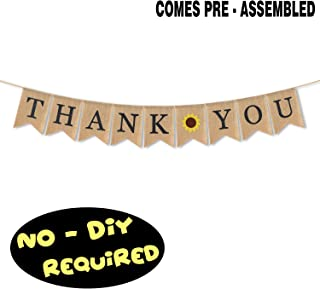 AERZETIX Thank You Burlap Bunting Banner Sunflower Sign Rustic Wedding Anniversary Baby Shower Farewell Party Decoration Fireplace Table Wall Sign