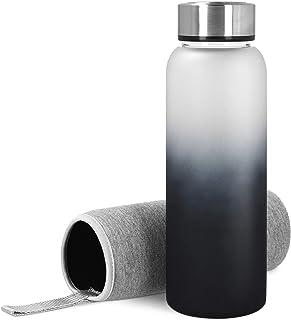 Navaris glazen fles met neopreen deksel 950ml - Drinkfles van borosilicaatglas met neopreen deksel - glazen fles - lekdicht