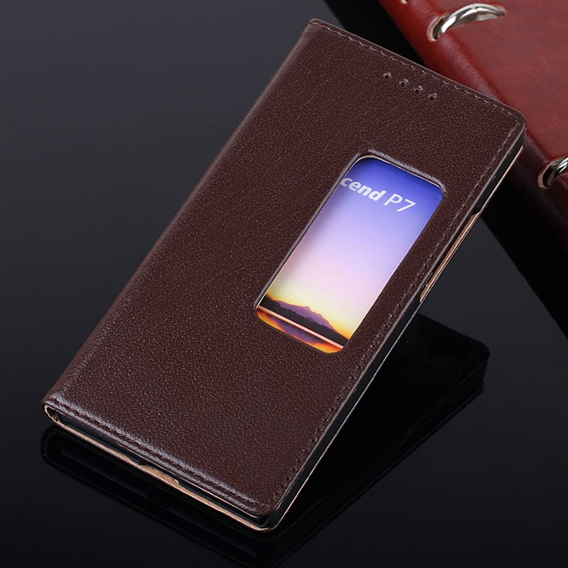 P7 View Case,EVERGREENBUYING Genuine Leather P7-L00 Cases [Premium Leather Wallet][Slim Fit][Window View] Luxury Flip Slim View Cover Case For Huawei Ascend P7 / Sophia Brown