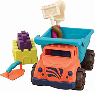 """B. Toys – Coastal Cruiser – 15"""" Toy Dump Truck with 5 Funky Sand Toys for Kids 18 M+ (6-Pcs)"""
