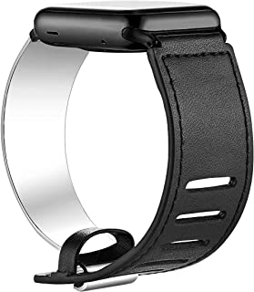 fastgo Compatible for Apple Watch Bands 38mm 40mm 42mm 44mm, Leather Stainless Steel Cuff Bracelet Strap Compatible for Iwatch Series 4 3 2 1 Women Girl Female Adjustable