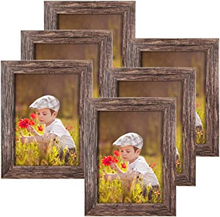Q.Hou 5x7 Picture Frame Wood Pattern Rustic Brown Photo Frames Packs 6 with High Definition Glass for Tabletop or Wall Decor (QH-PF5X7-BR)