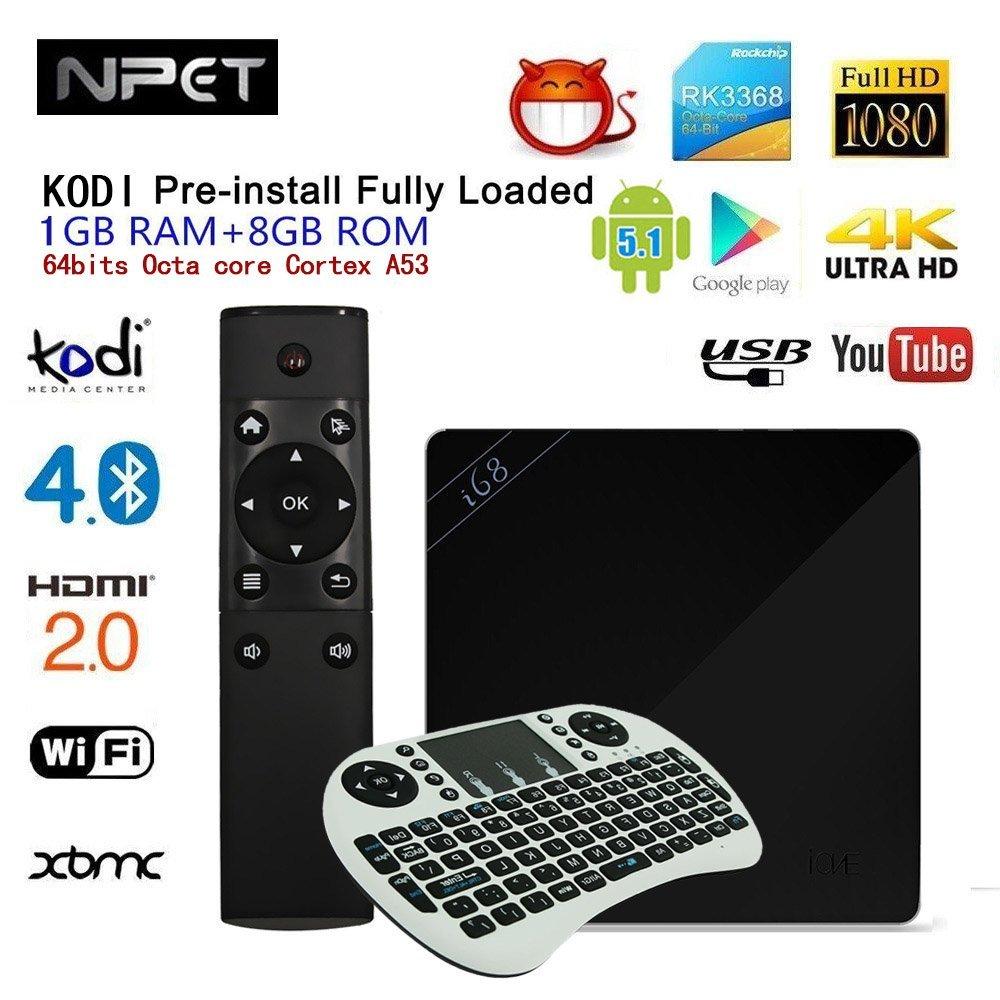 NPET i68 Android 5.1 TV Box 64bits RK3368 Octa Core KODI XBMC WIFI 1 GB 8 GB Smart Media Player Streamer Sports programas de televisión integrado para entretenimiento de electrodoméstico con Mini
