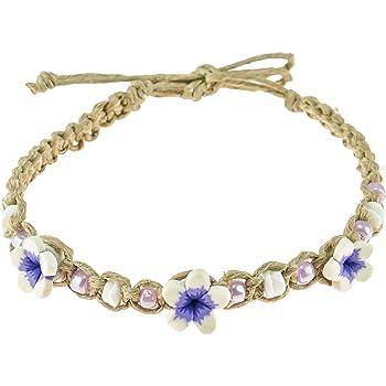 BlueRica Hemp Cord Anklet Bracelet with Neon Rainbow Colored Beads