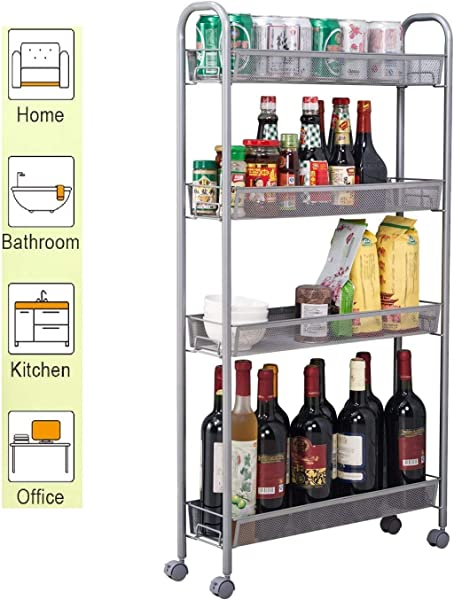 KOVALENTHOR 4 Tier Kitchen Slim Slide Out Storage Tower Rack With Wheels Cupboard With Casters Kitchen Storage Organaizer Cart For Kitchen Bathroom Laundry Room Narrow Places