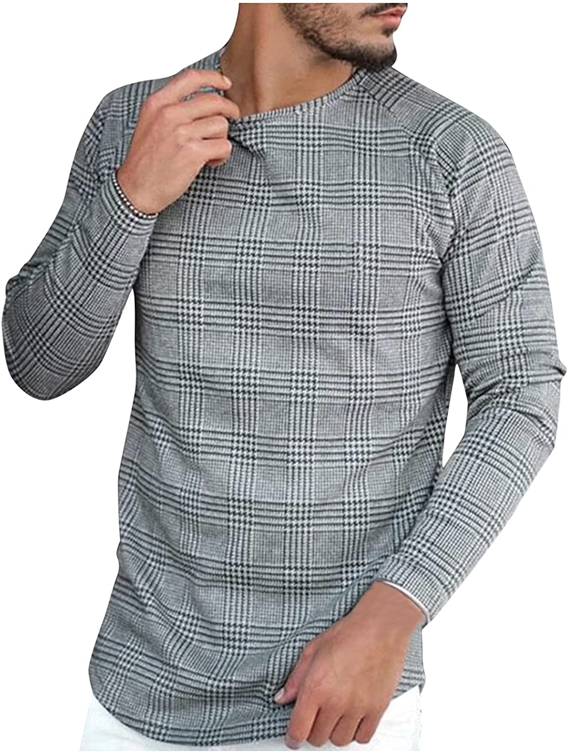 xoxing Shirts for Men Casual Autumn Plus Size Plaid Striped Print Long Sleeve Crew Neck Loose T-Shirt Blouse Pullovers