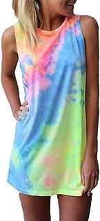 4470cef5dd7 ZANZEA Women s Sleeveless T Shirt Dress Tie-dye Floral Print Cold Shoulder  Tank Mini Dress
