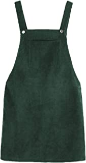 Women's Straps A-line Corduroy Pinafore Bib Pocket Overall Dress