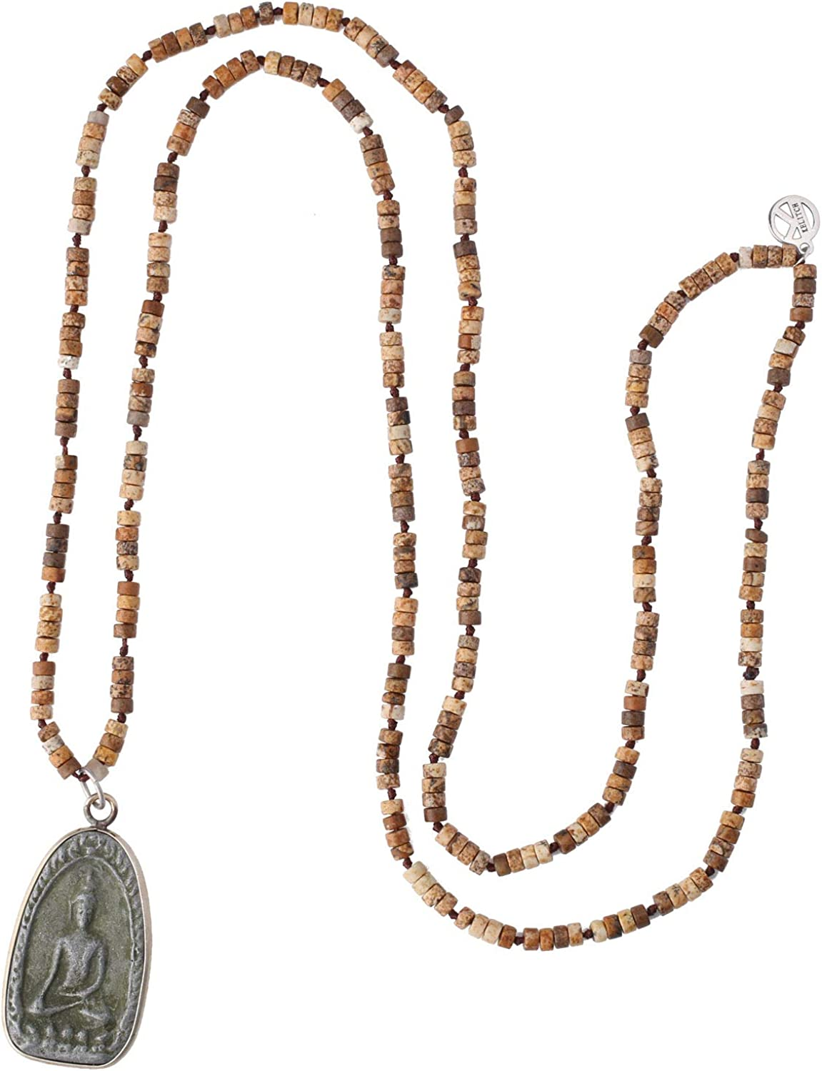 KELITCH Buddha Pendant Necklaces Natural Stone Beaded Necklaces Handmade Long Chain Strands Necklaces Jewelry for Women Girls