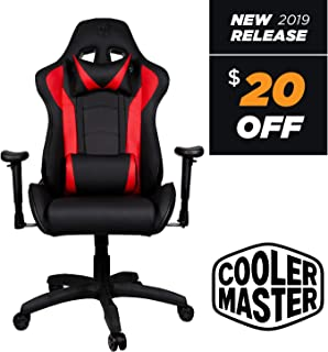 Cooler Master Caliber R1, PC Gaming Racing Chair Ergonomic High Back Office Chair, Seat Height and Armrest Adjustment, Recliner, High Density Cushions with Headrest and Lumbar Support- Red