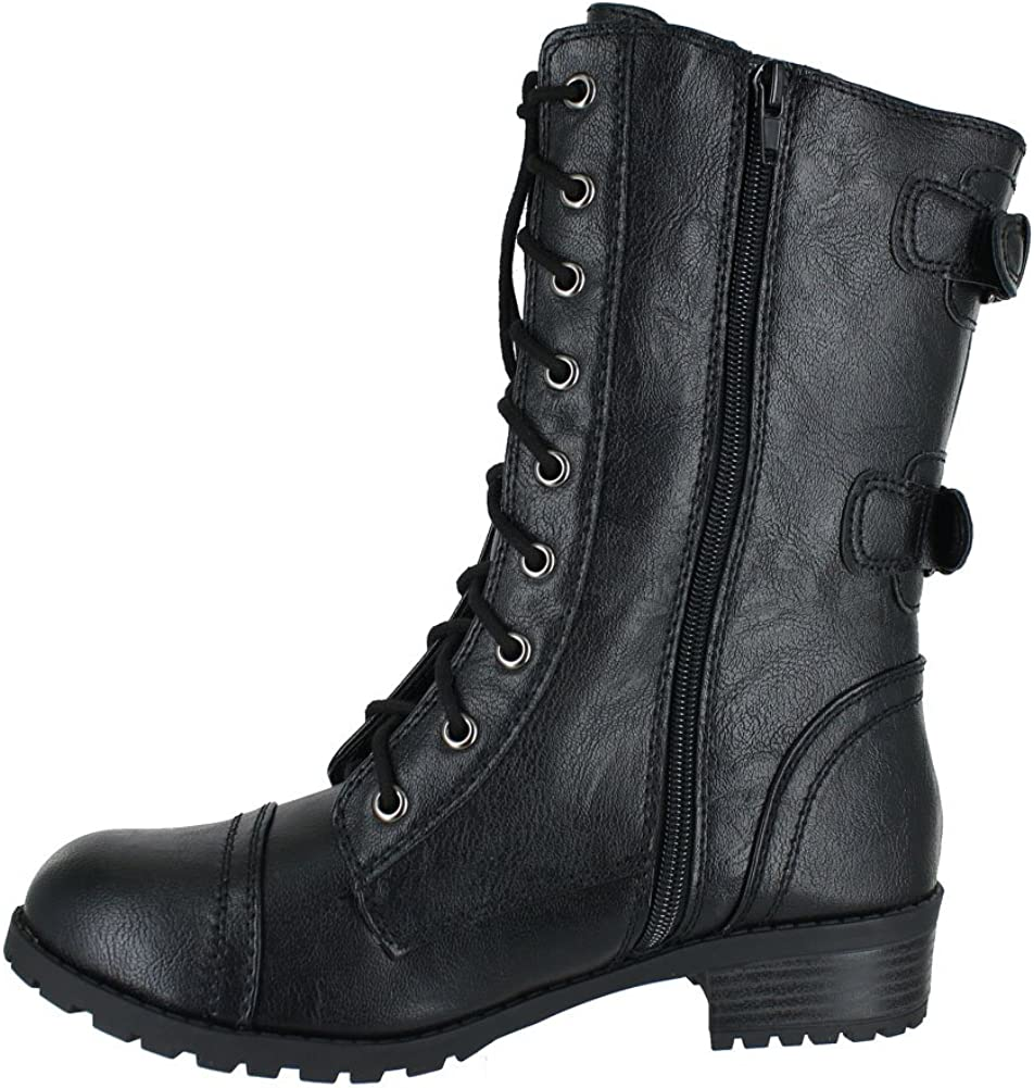 Soda Topshoe Dome Mid Calf Height Women's Military Combat Boots