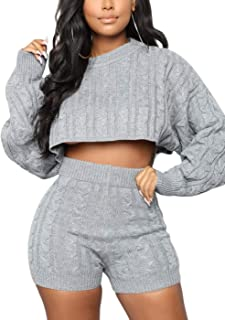 Women's Casual Knit 2 Piece Outfit Long Sleeve Sweater Pullover Crop Top and Shorts Pants Jumpsuit Skirts Dress Set