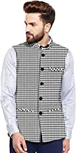 Vastraa Fusion Men's Cotton Bandhgala Checkered Nehru Jacket/Waistcoat (Black and White)