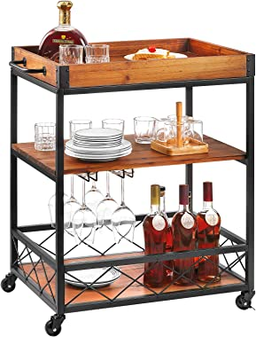 kealive Kitchen Bar Cart for Home Mobile Metal Wine Cart on Wheels with Handle Rack, Glass Holder, Removable Wood Box Contain