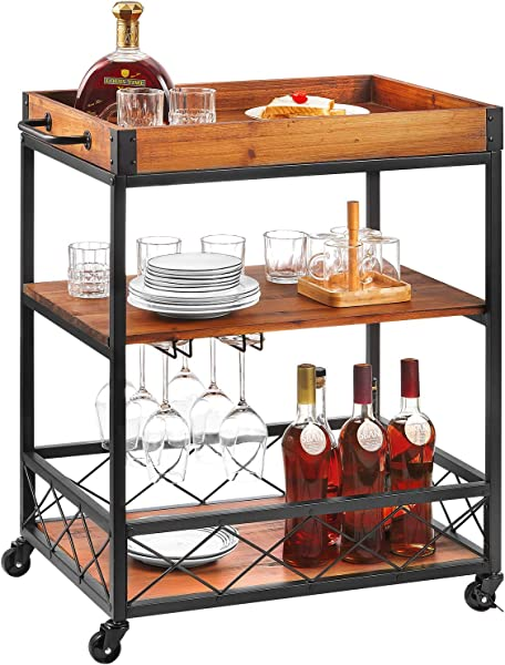 Bar Serving Cart Kealive Kitchen Island Rolling Cart 3 Tier Storage Shelf With Towel Rack Bottle Holder Removable Wood Box Container Brown 26L X 18W X 32 5in H