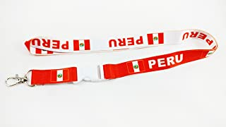 peru Flag Reversible Lanyard Keychain with Quick Release Snap Buckle and Metal Clasp - ID Lanyard for Keys Badges USB Whistle Name Tag Passport - ID Holder Keychain for Women Men Kids (Red/White)