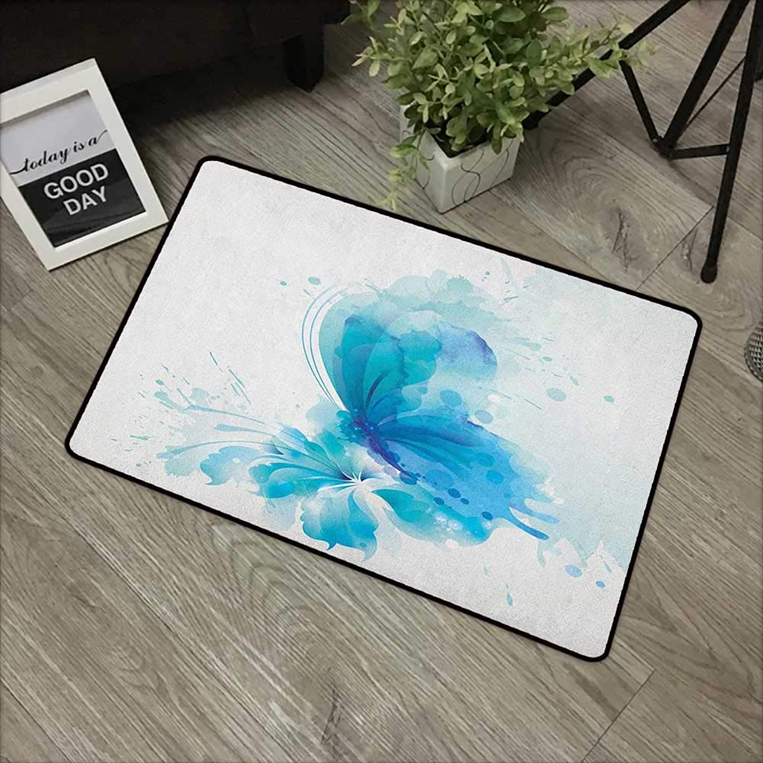 Meeting Room mat W35 x L59 INCH Watercolor,Abstract bluee Butterfly on a Blooming Flower Romantic Artistic Design, bluee Sky bluee White with Non-Slip Backing Door Mat Carpet