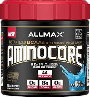 ALLMAX Nutrition Aminocore BCAAs, 100% Pure 45:30:25 Ratio, Blue Raspberry, 462 g