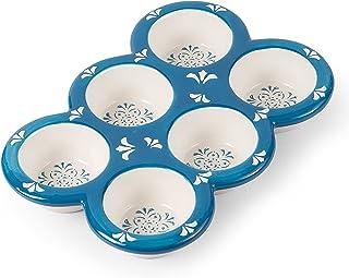 Original Heart Muffin Tin Ceramic Cupcake Pan Blue Muffin Pan Mini Muffin Pans Nonstick Cupcake Baking Pan 6 cups Muffin T...