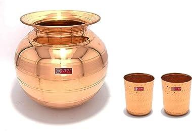 Kitchen Expert Combo of Copper Pot/Matka (5 Litre) & Small Glasses (400ml), Set of 3 pcs