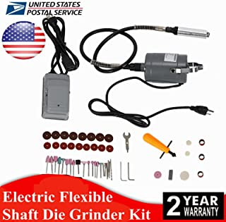 DONNGYZ 55pc Electric Flexible Shaft Die Carving Grinder Rotary Tool Variable Speed Foot Pedal Kit