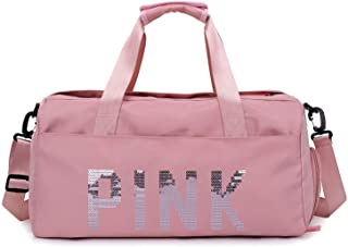 VISMIINTREND Men's and Women's Swimming Travel Gym Sports Nylon Duffel Bag with Dry Wet Pocket Shoes Compartment (Pink)
