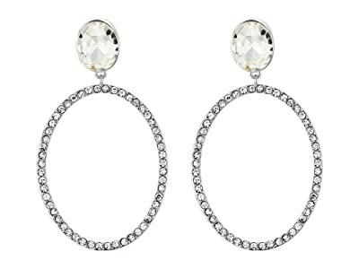 Nina Large Open Oval Pave Earrings (Rhodium/White) Earring