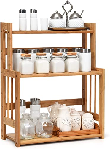 discount Giantex 3-Tier Bamboo Spice Rack, Countertop Storage Organizer outlet sale for Kitchen and Bathroom, Spice Bottle Jars discount Holder with Adjustable Shelf (Natural) online sale