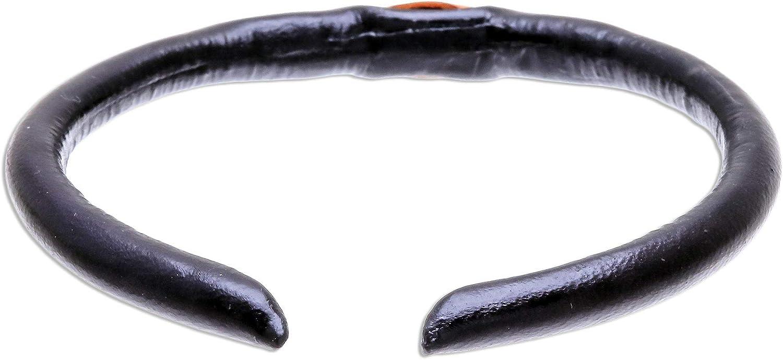 NOVICA Black-Orange Eye Leather Cuff Bracelet for Girls Womens